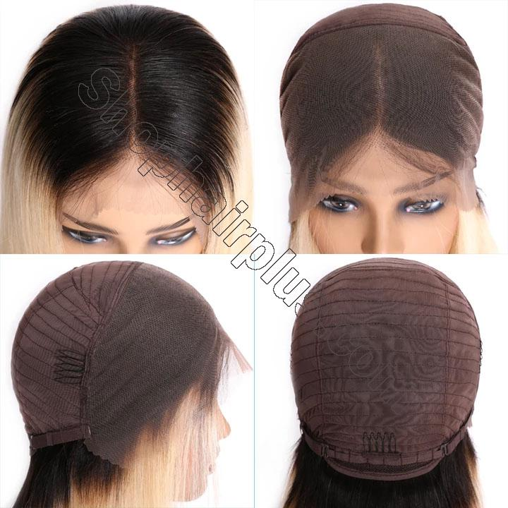 9A Ombre 613 Lace Front Bob Wigs Brazilian Straight Hair T1b/613 Dark Roots Lace Wigs High Density Blunt Cut Human Hair Wigs 4