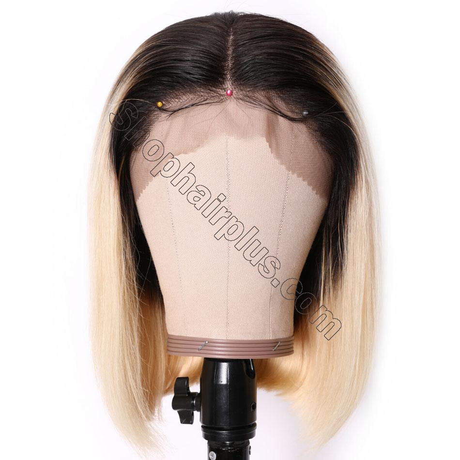 9A Ombre 613 Lace Front Bob Wigs Brazilian Straight Hair T1b/613 Dark Roots Lace Wigs High Density Blunt Cut Human Hair Wigs 6