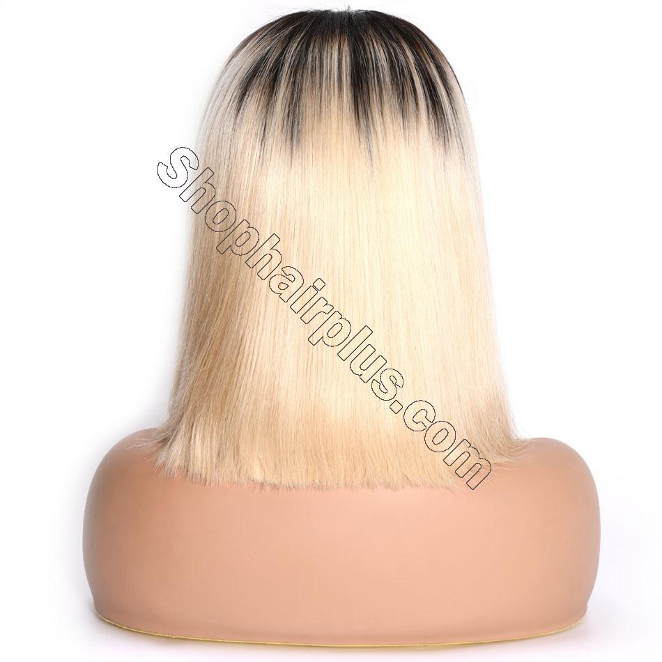 9A Ombre 613 Lace Front Bob Wigs Brazilian Straight Hair T1b/613 Dark Roots Lace Wigs High Density Blunt Cut Human Hair Wigs 8