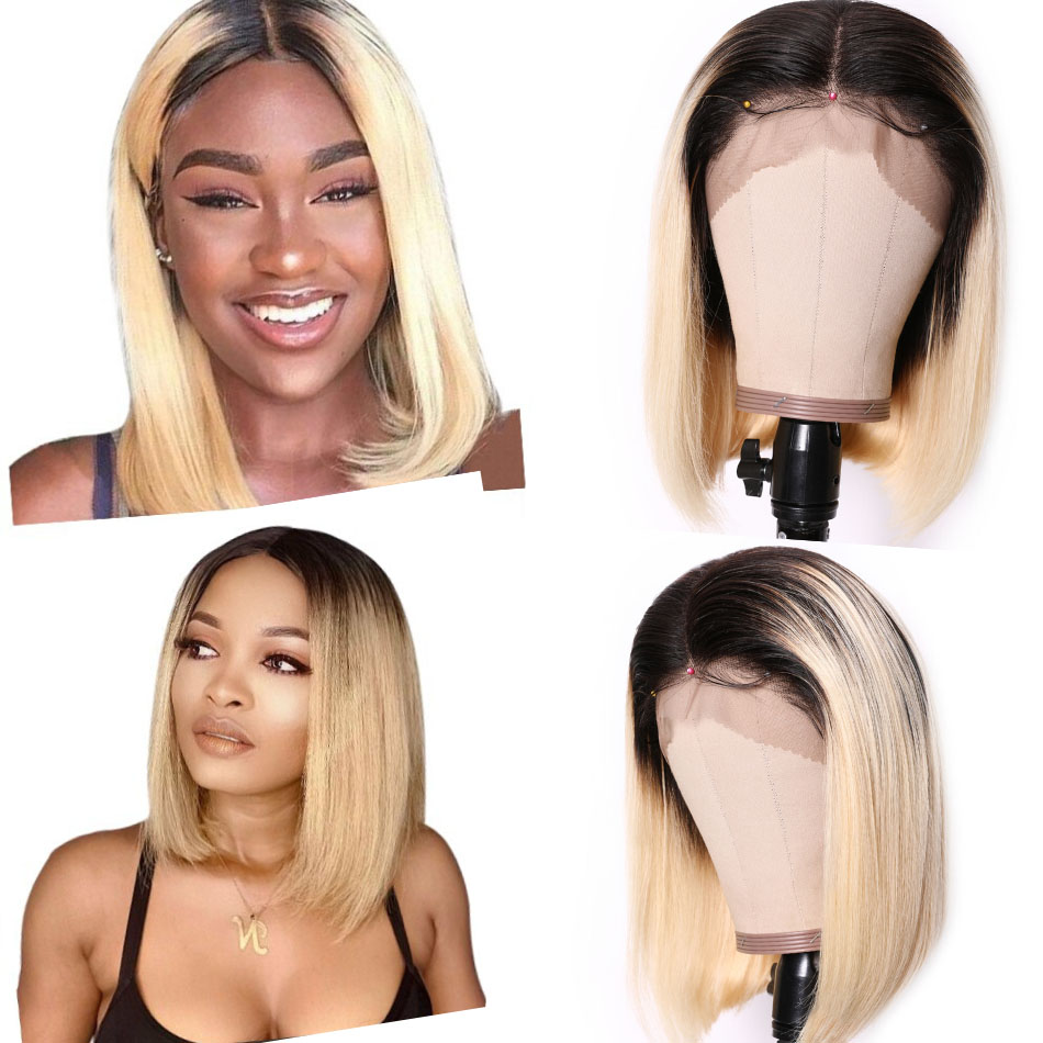 9A Ombre 613 Lace Front Bob Wigs Brazilian Straight Hair T1b/613 Dark Roots Lace Wigs High Density Blunt Cut Human Hair Wigs 10