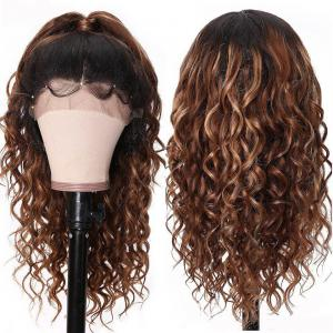 9A Ombre Color New Curly Lace Front Wigs With Baby Hair 150% Density T4/27# Dark Blond Wavy Human Hair Wigs