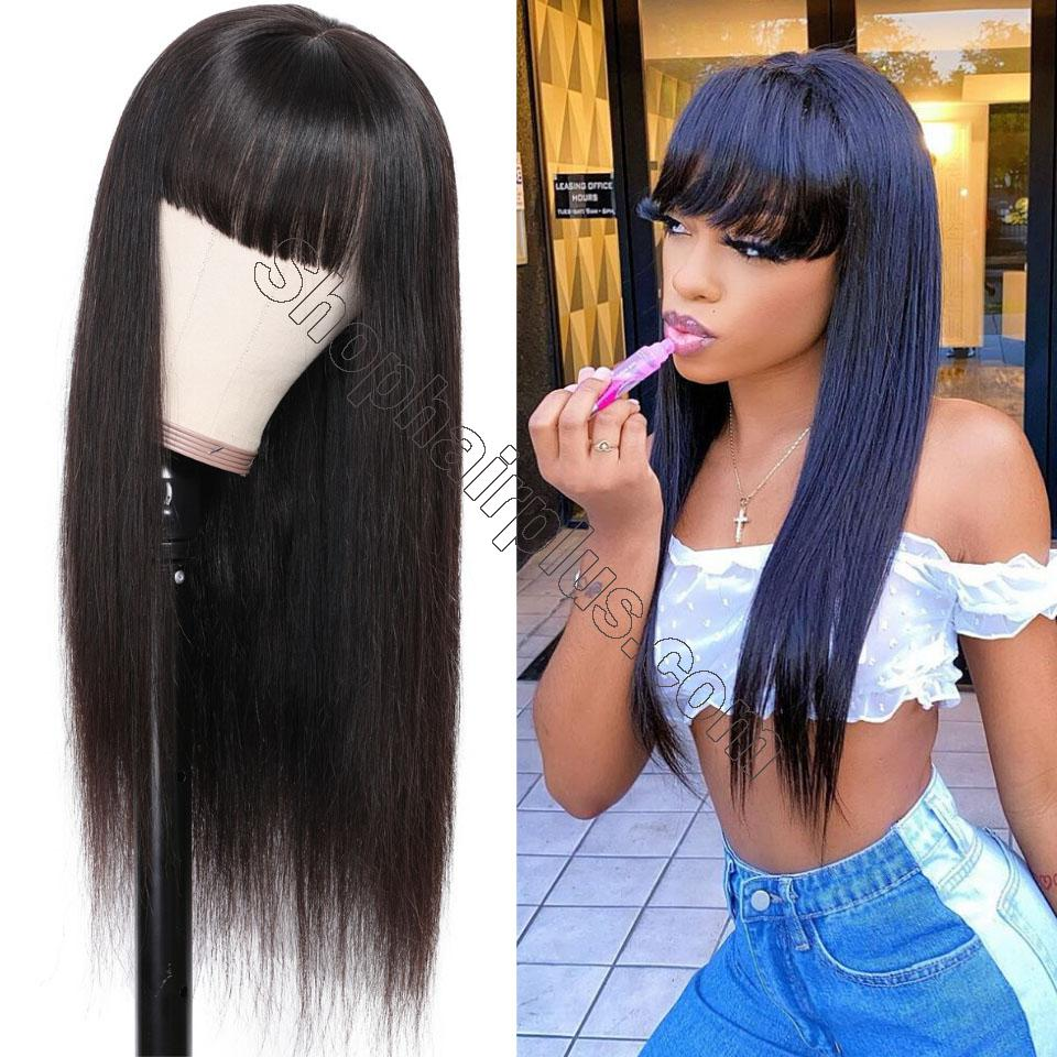9A Transparent Lace Brazilian Straight Hair Wig With Bangs 13*4 Lace Front Wig 130% & 150% Density 12-24inch 2