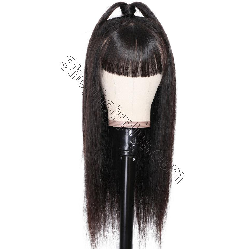 9A Transparent Lace Brazilian Straight Hair Wig With Bangs 13*4 Lace Front Wig 130% & 150% Density 12-24inch 3