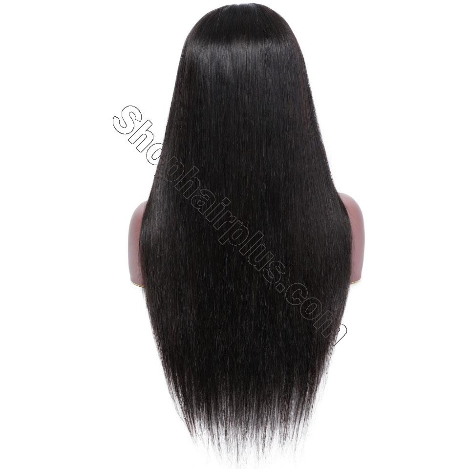 9A Transparent Lace Brazilian Straight Hair Wig With Bangs 13*4 Lace Front Wig 130% & 150% Density 12-24inch 5