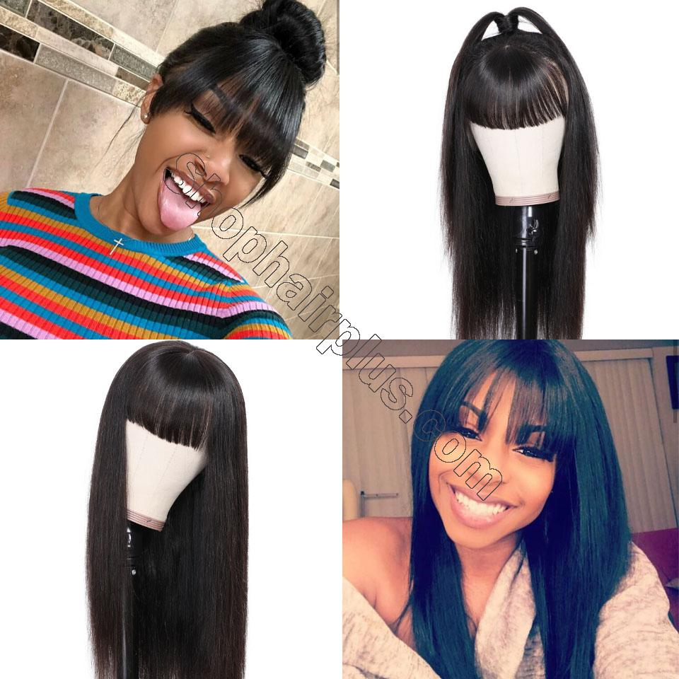 9A Transparent Lace Brazilian Straight Hair Wig With Bangs 13*4 Lace Front Wig 130% & 150% Density 12-24inch 6