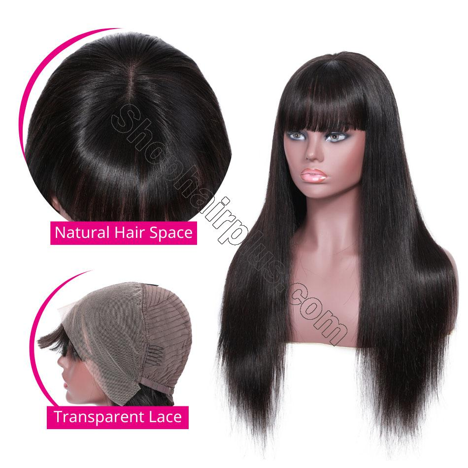 9A Transparent Lace Brazilian Straight Hair Wig With Bangs 13*4 Lace Front Wig 130% & 150% Density 12-24inch 7
