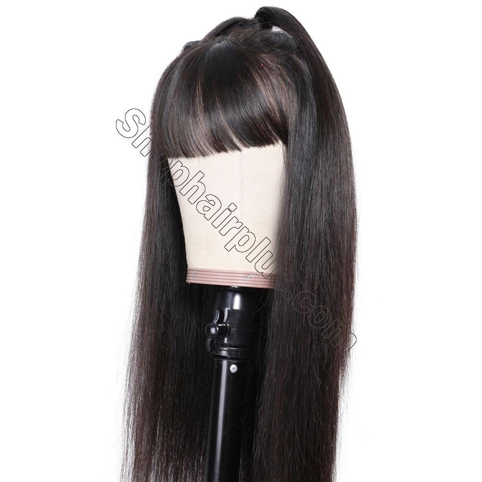 9A Transparent Lace Brazilian Straight Hair Wig With Bangs 13*4 Lace Front Wig 130% & 150% Density 12-24inch 8