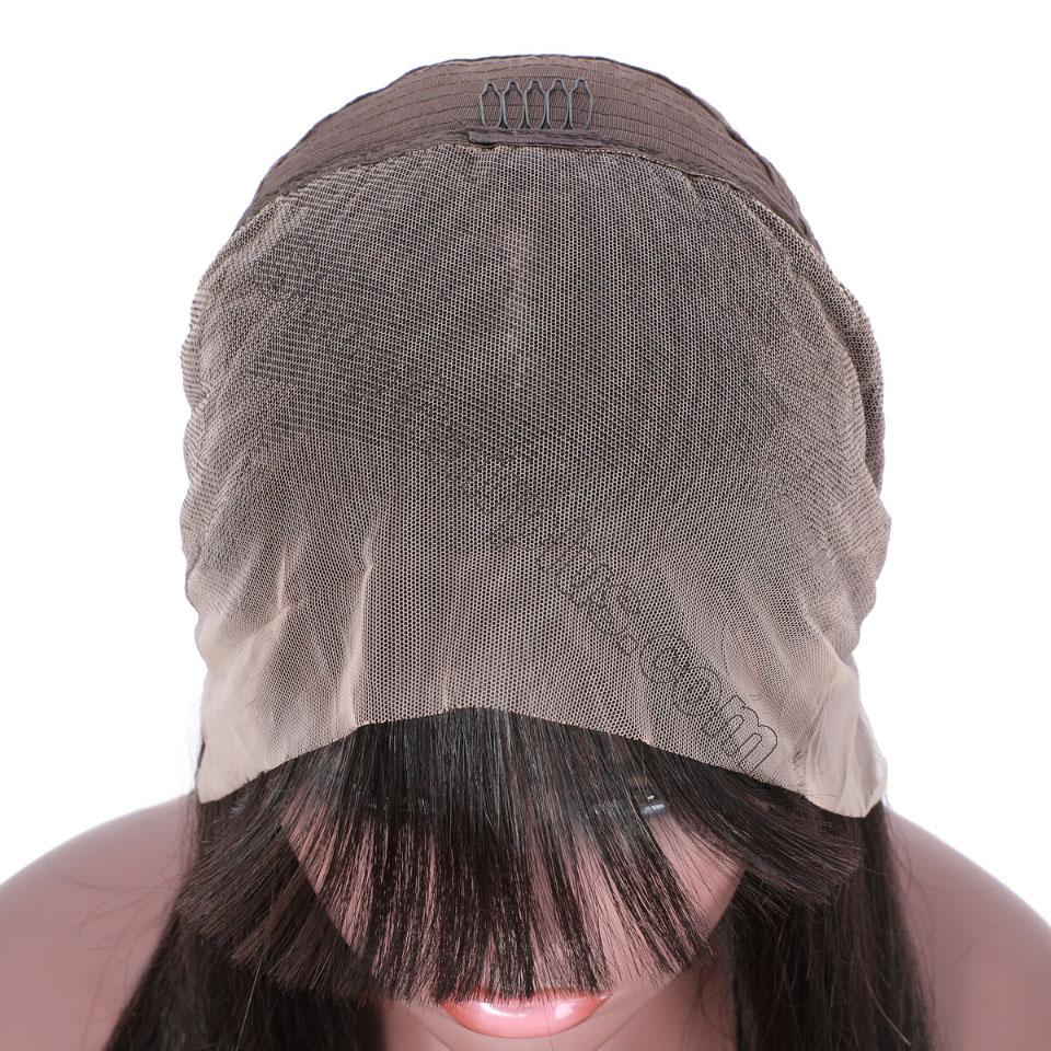 9A Transparent Lace Brazilian Straight Hair Wig With Bangs 13*4 Lace Front Wig 130% & 150% Density 12-24inch 9