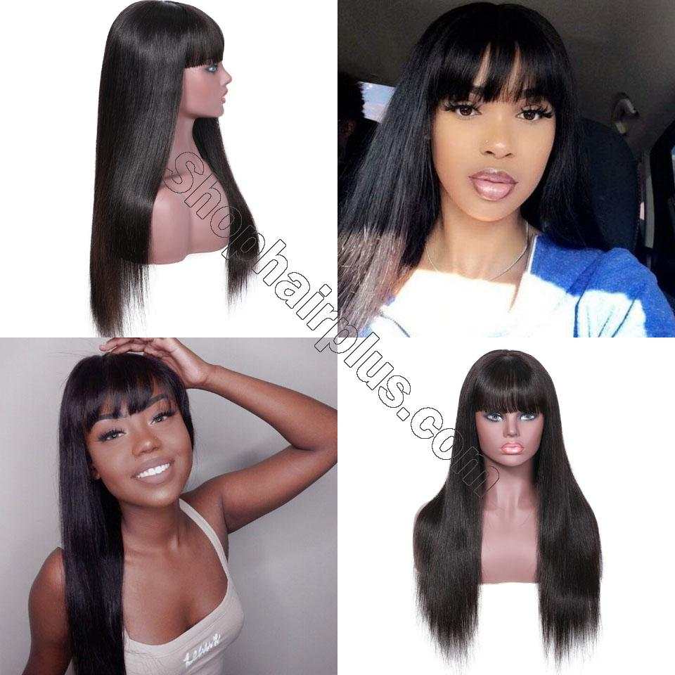 9A Transparent Lace Brazilian Straight Hair Wig With Bangs 13*4 Lace Front Wig 130% & 150% Density 12-24inch 10