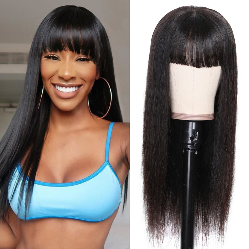 9A Transparent Lace Brazilian Straight Hair Wig With Bangs 13*4 Lace Front Wig 130% & 150% Density 12-24inch 12