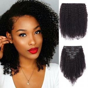Afro Kinky Curly 8 Pcs Clip In Remy Human Hair Extensions