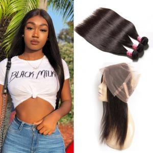 Brazilian 3 Bundles Straight Human Virgin Hair With 360 Lace Frontal Closure
