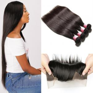 Brazilian 4 Bundles Straight Human Virgin Hair With Lace Frontal Closure