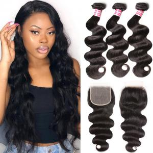 Brazilian Body Wave 3 Bundles with 5*5 Transparent Lace Closure
