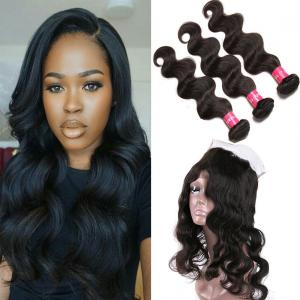 Brazilian Body Wave 360 Frontal With 3bundles Unprocessed Human Virgin Hair Extensions