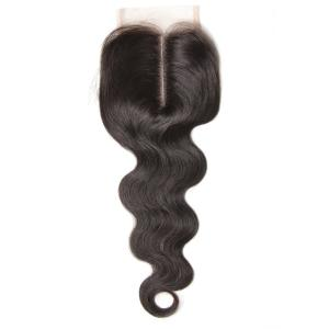 Brazilian Body Wave Human Virgin Hair 4x4 Lace Closure Natural Color
