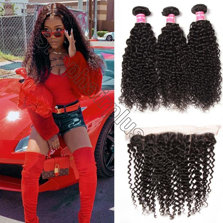 Brazilian Curly Hair 13x4 Lace Frontal With Bundles 3Pcs/Pack 2