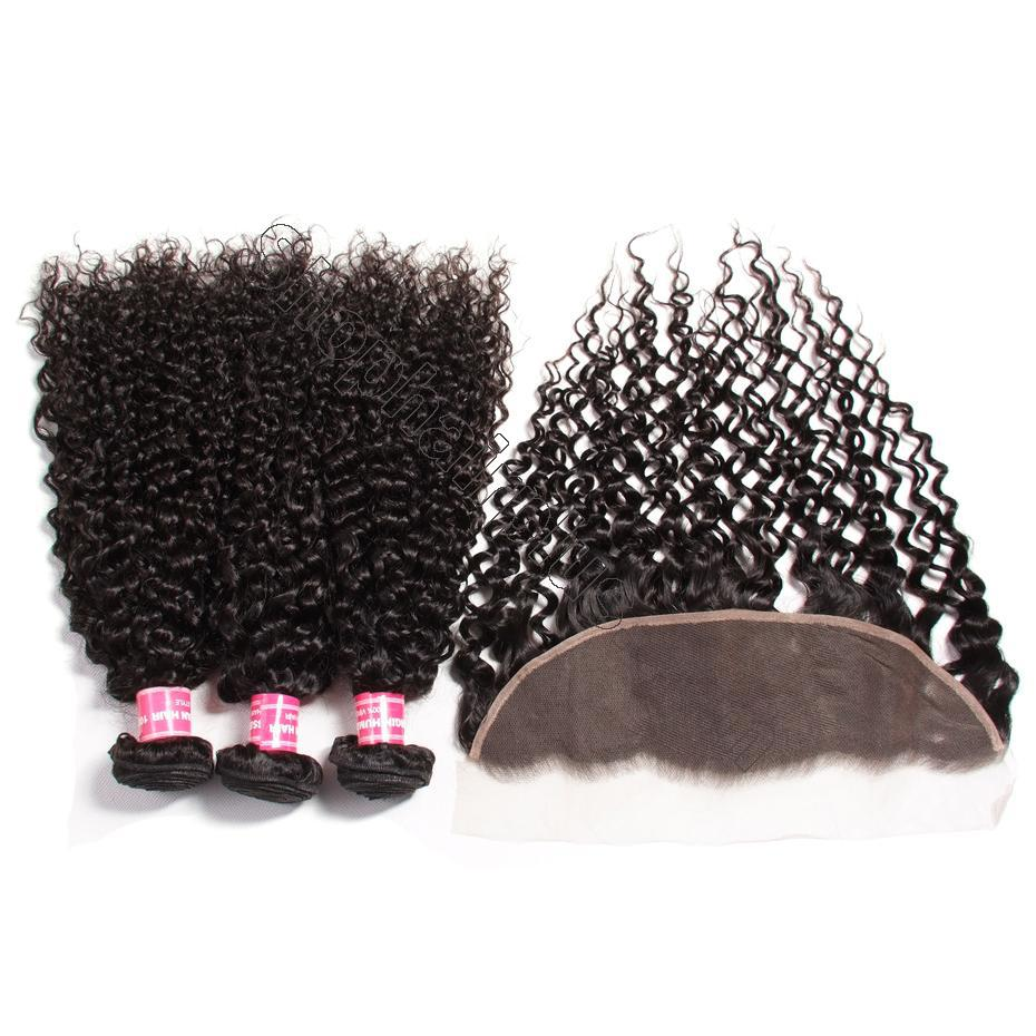 Brazilian Curly Hair 13x4 Lace Frontal With Bundles 3Pcs/Pack 8
