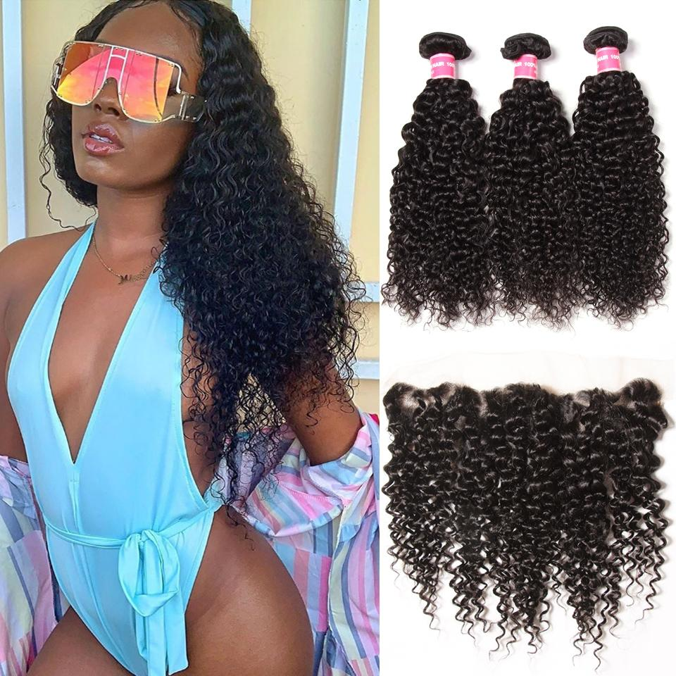 Brazilian Curly Hair 13x4 Lace Frontal With Bundles 3Pcs/Pack 13