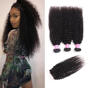 Brazilian Kinky Curly Hair 3 Bundles with 4*4 Lace Closure. 100% Virgin Human Hair Weaves on Sale