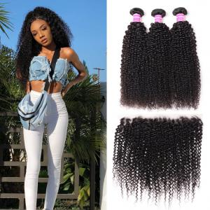 Brazilian Kinky Curly Hair 3 Pcs with 13*4 Ear to Ear Lace Frontal Closure On Deals