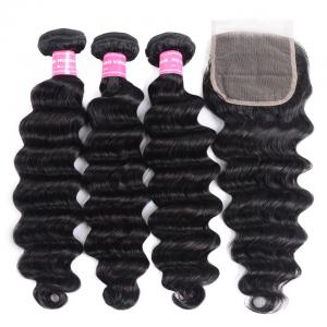 Brazilian Loose Deep Wave 3 Bundles with 4*4 Lace Closure. 100% Virgin Human Hair Weaves on Sale
