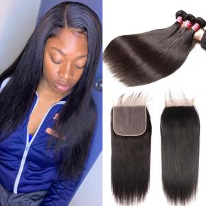 Brazilian Straight 3 Bundles with 7x7 Lace Closure Deep Parting Pre Plucked