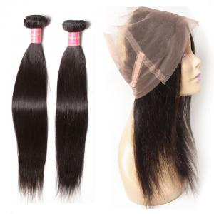 Brazilian Straight Hair  2 Bundles with 1 Piece 360 Lace Frontal Closure
