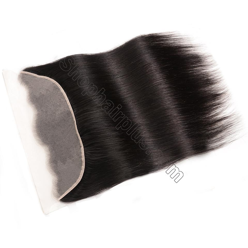 Brazilian Straight Hair Frontal Closure 13*4 Transparent Swiss Lace Frontal Ear to Ear Closure Natural Black 2
