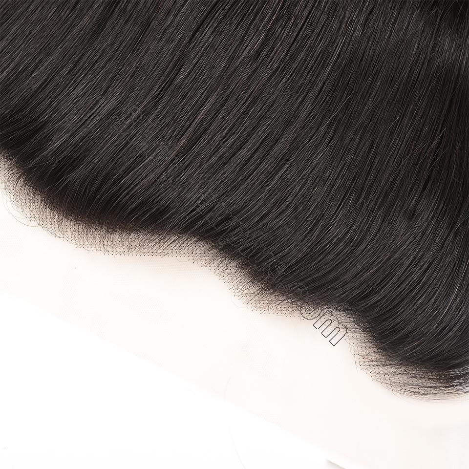 Brazilian Straight Hair Frontal Closure 13*4 Transparent Swiss Lace Frontal Ear to Ear Closure Natural Black 3