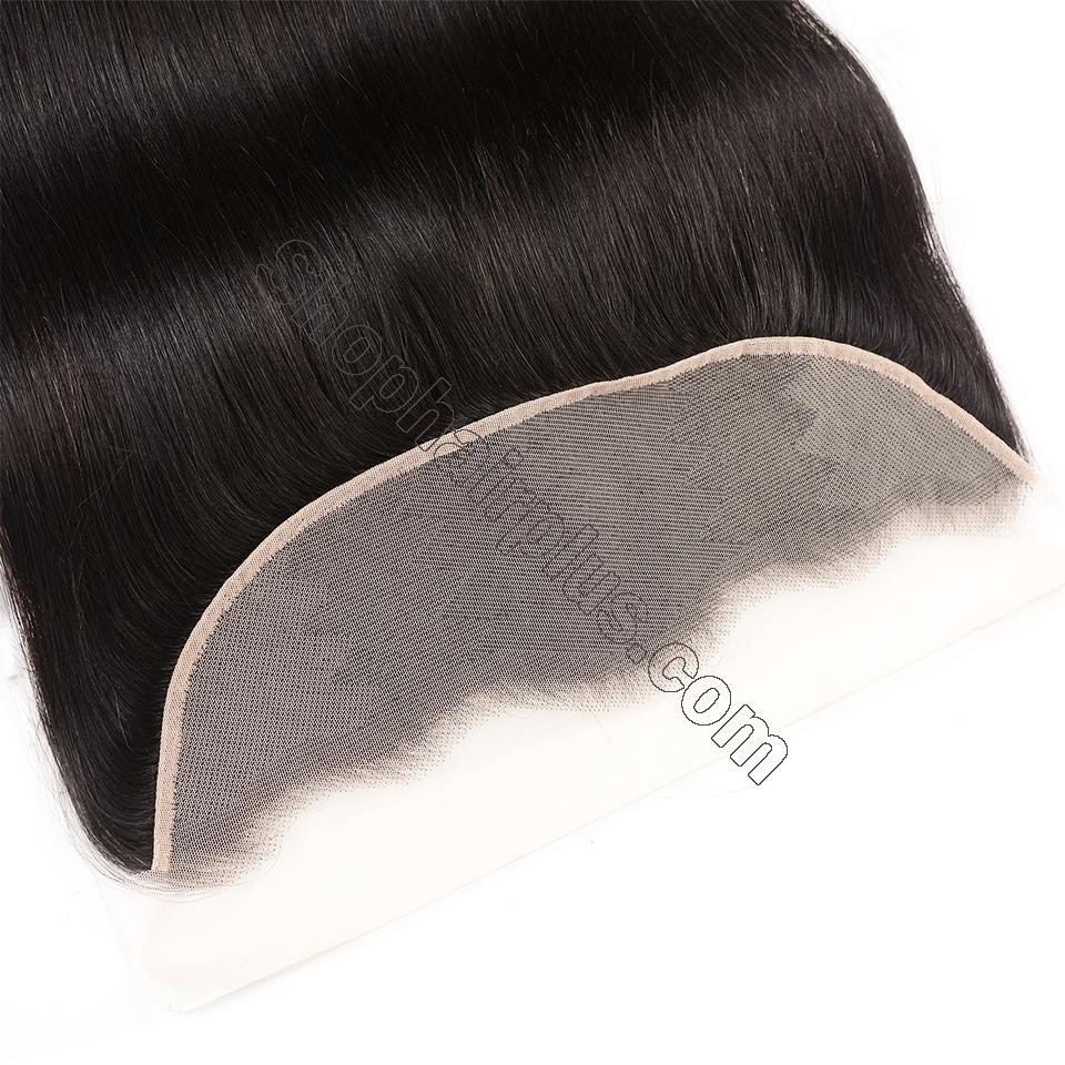 Brazilian Straight Hair Frontal Closure 13*4 Transparent Swiss Lace Frontal Ear to Ear Closure Natural Black 4