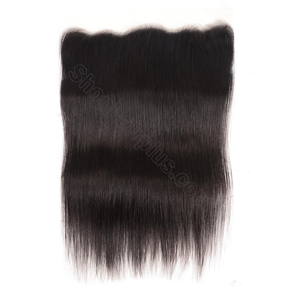 Brazilian Straight Hair Frontal Closure 13*4 Transparent Swiss Lace Frontal Ear to Ear Closure Natural Black 5