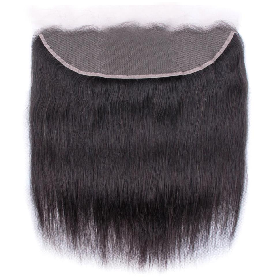 Brazilian Straight Hair Frontal Closure 13*4 Transparent Swiss Lace Frontal Ear to Ear Closure Natural Black 8