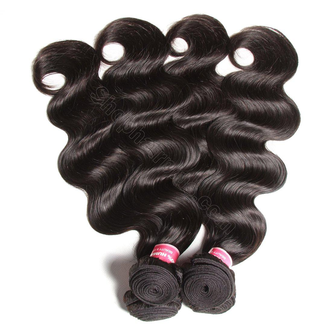 Brazilian Virgin Body Wave Hair 3 Bundles With Lace Frontal Hair Closure 3