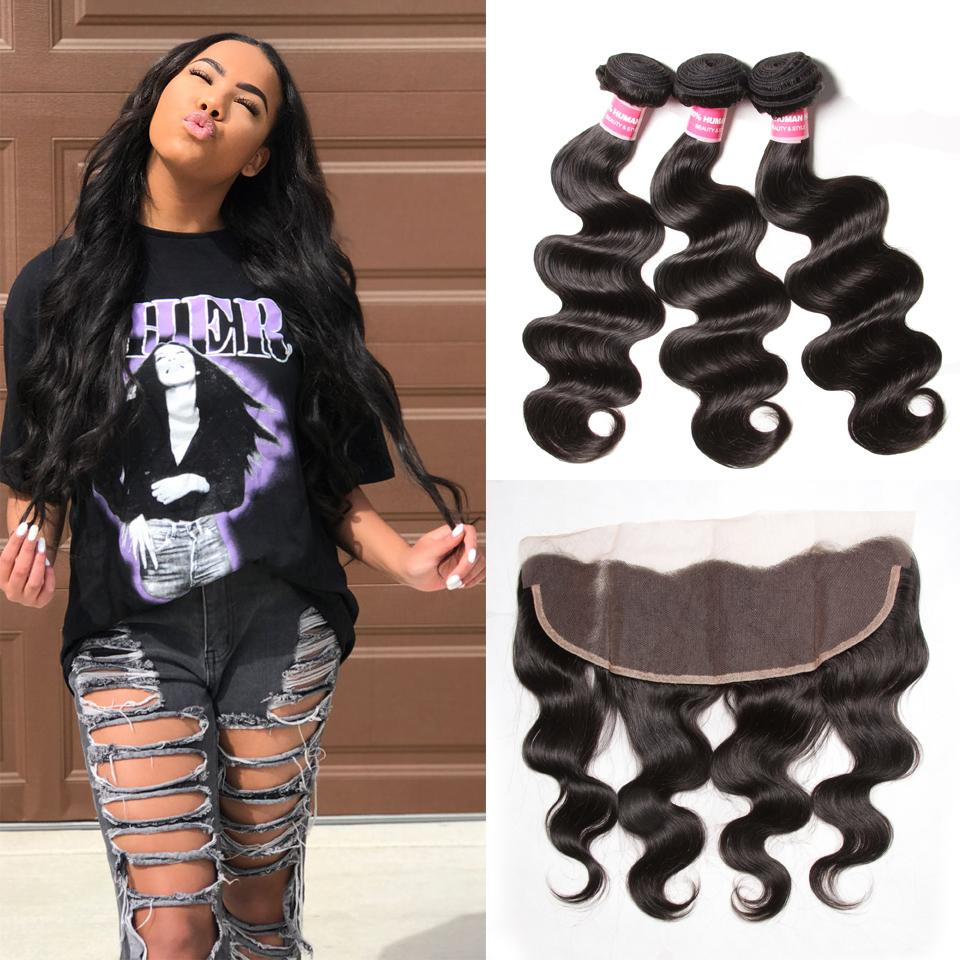 Brazilian Virgin Body Wave Hair 3 Bundles With Lace Frontal Hair Closure 9