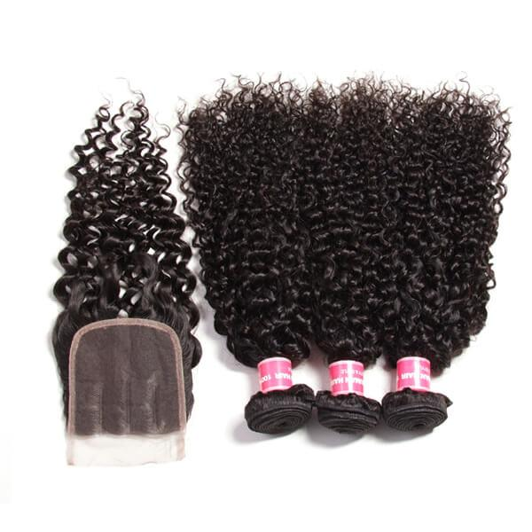 Brazilian Virgin Curly Hair 3 Bundles With 4*4 Lace Closure, Unprocessed Human Hair Extension 14