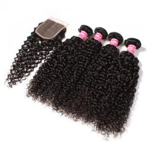 Brazilian Virgin Curly Hair 4 Bundles with 4*4 Lace Closure