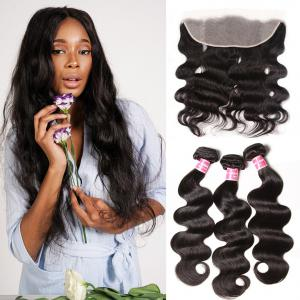 Brazilian Virgin Hair Body Wave 3 Bundles With Transparent Lace Frontal Closure