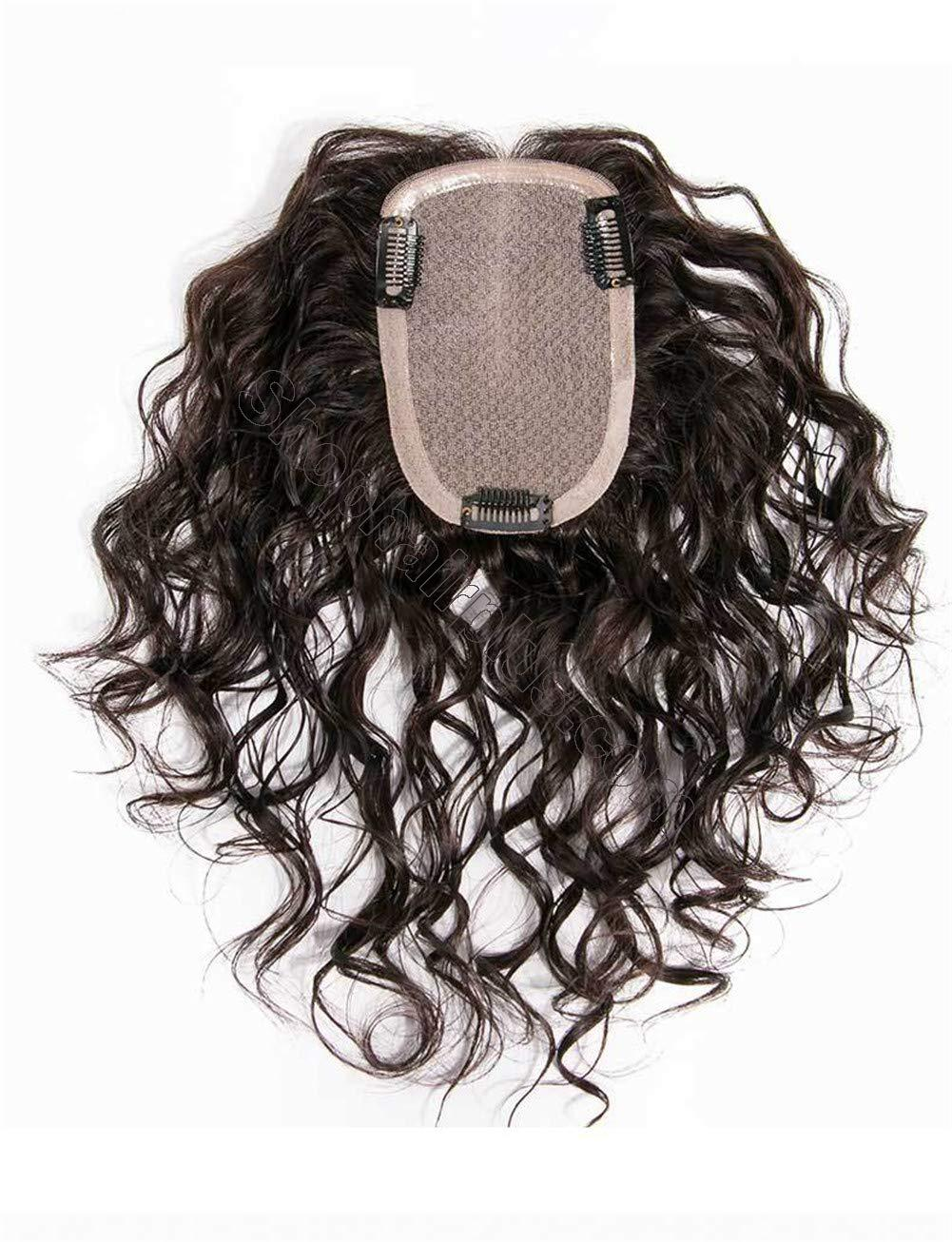 """Curly Human Hair Crown Topper for Women with Thinning Hair, Clip in 3.5"""" x 5.5"""" Silk Base Top Hairpieces Wiglets 2"""