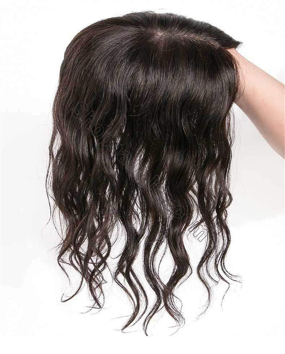 """Curly Human Hair Crown Topper for Women with Thinning Hair, Clip in 3.5"""" x 5.5"""" Silk Base Top Hairpieces Wiglets 3"""