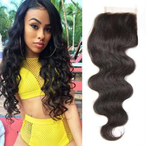 Indian Body Wave Human Virgin Hair Lace Closure Natural Color