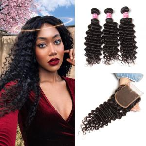 Indian Deep Wave 3 Bundles with 4*4 Lace Closure Deals