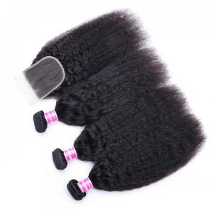 Indian Kinky Straight Hair 3 Bundles with 4*4 Lace Closure, 8A Grade Virgin Hair Weaves on Deals