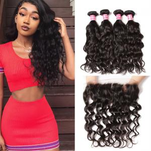 Indian Natural Wave 4 Bundles with 13*4 Ear to Ear Lace Frontal Closure Deals