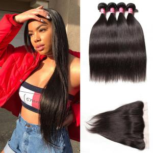 Indian Straight Hair 4 Bundles with Lace Frontal Closure Deals