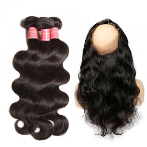 Indian Virgin Body Wave 360 Lace Frontal Closure with 3 Pcs Human Hair Weave Bundles Deal
