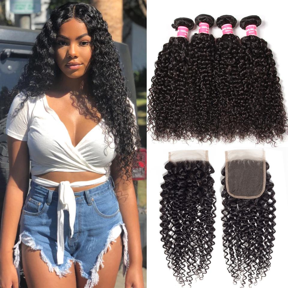 Indian Virgin Curly Hair 4 Bundles with 4*4 Lace Closure 10