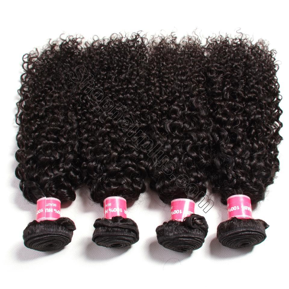 Indian Virgin Curly Hair 4 Bundles with 4*4 Lace Closure-Klaiyi Hair 3