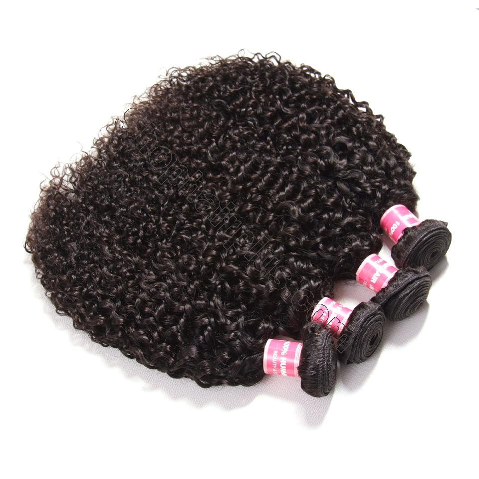 Indian Virgin Curly Hair 4 Bundles with 4*4 Lace Closure-Klaiyi Hair 4