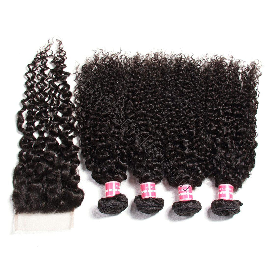 Indian Virgin Curly Hair 4 Bundles with 4*4 Lace Closure-Klaiyi Hair 5